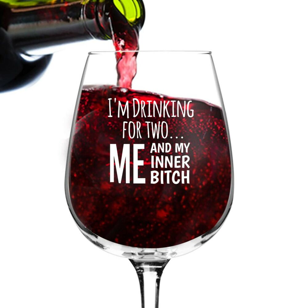 I'm Drinking for Two Funny Wine Glass Gifts for Women ...