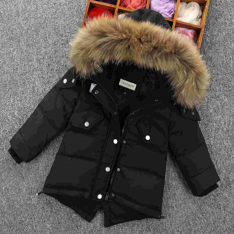 9a0dc8bad31d Kids Retro Padded Parka Jacket Real Fur Hooded Duck Down Boys Winter Warm  Coat