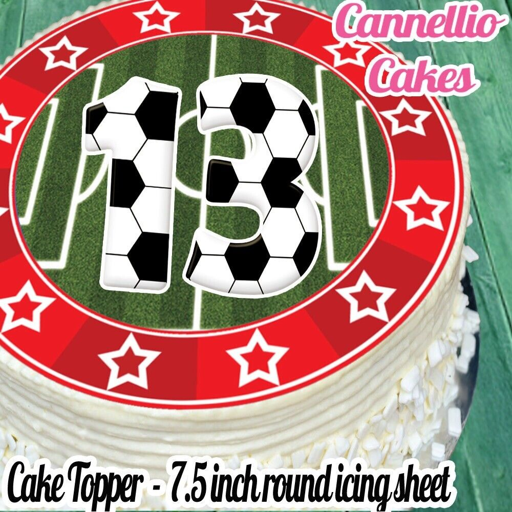 Details About PRECUT EDIBLE ICING SHEET 75 INCH FOOTBALL RED 13TH BIRTHDAY CAKE TOPPER N0359