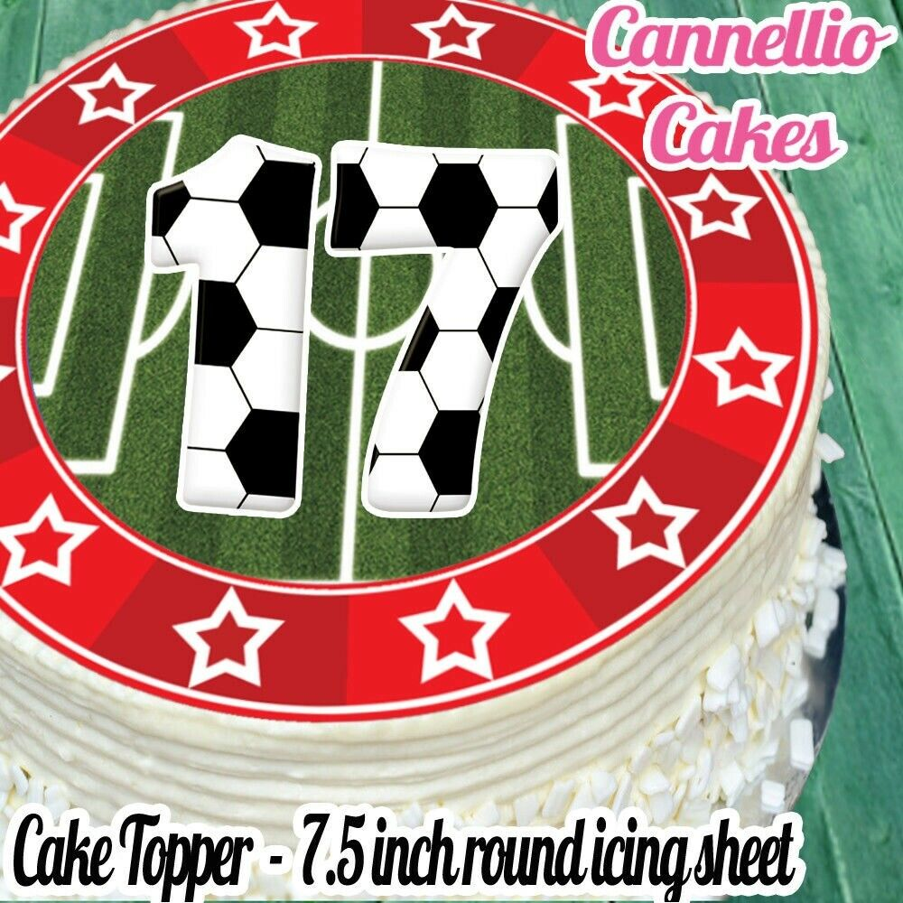 Details About PRECUT EDIBLE ICING SHEET 75 INCH FOOTBALL RED 17TH BIRTHDAY CAKE TOPPER N0357