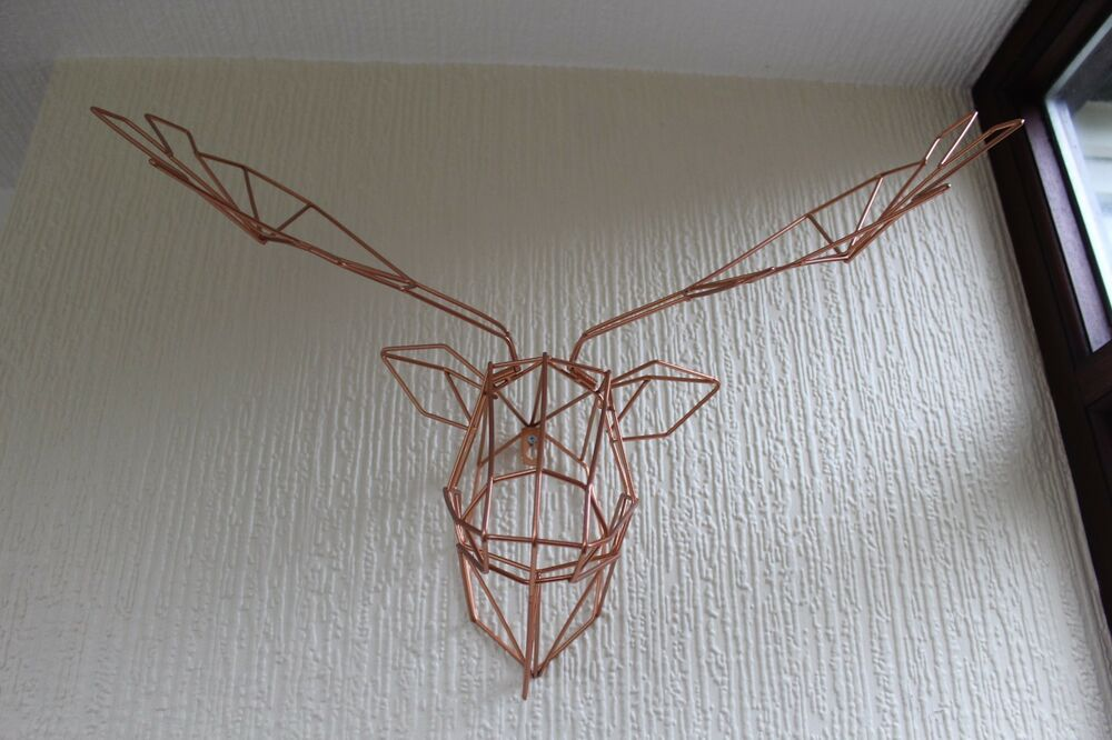 COPPER WIRE GEOMETRIC STAG HEAD WALL MOUNT STAG DEER HEAD WALL ART NEW