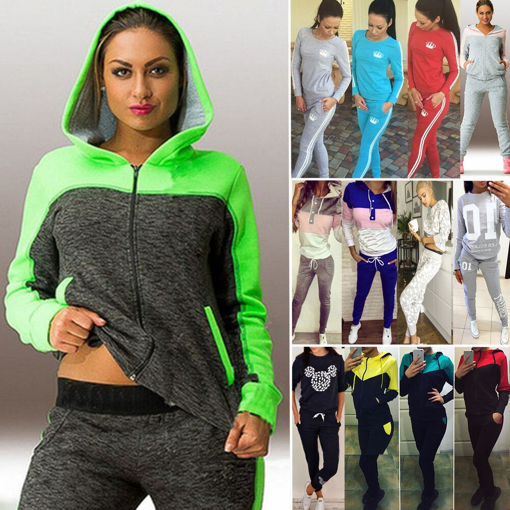 womens 2pcs tracksuit hoodie sweatshirt jogging pants set
