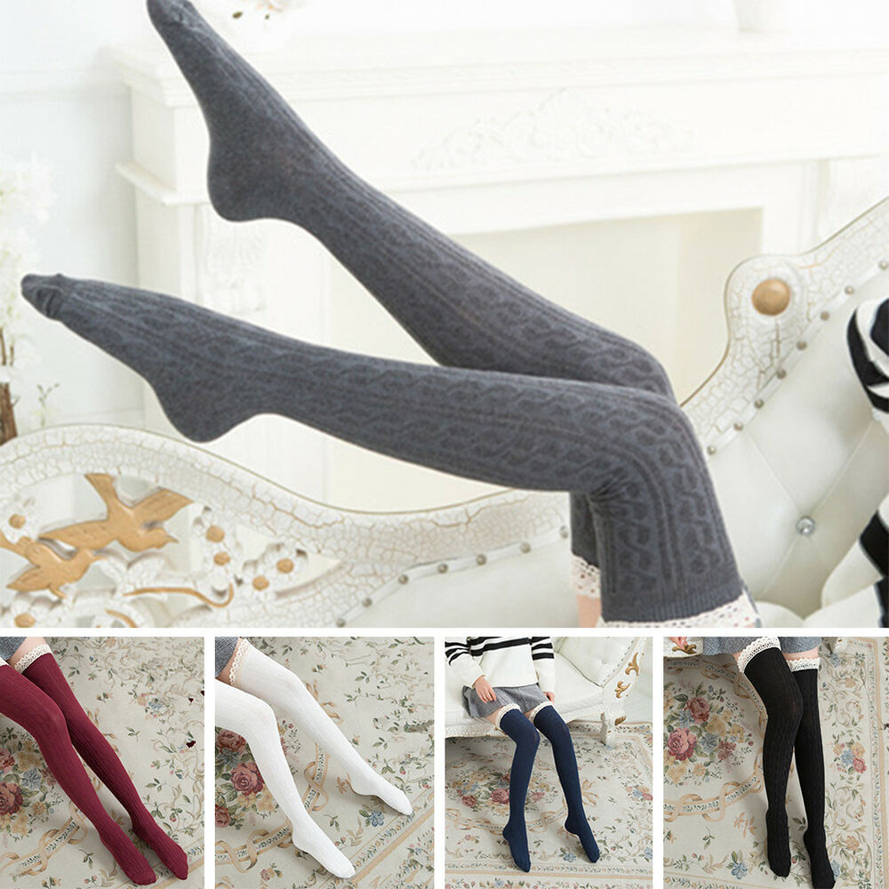 f512430bd54 Details about 1Pair Women Winter Warm Girls Lace Long Boot Socks Over Knee  Thigh High Stocking