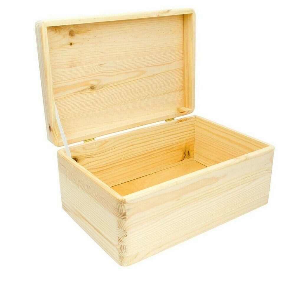 wooden box with lid 30x20x14cm plain wooden boxes storage box solid pine lid ebay. Black Bedroom Furniture Sets. Home Design Ideas