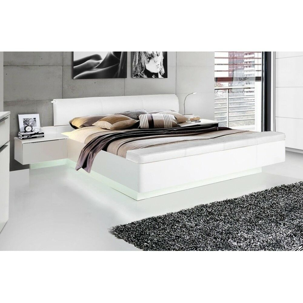 starlet 180 x 200 wei hochglanz bett doppelbett ehebett nakos fussbank ebay. Black Bedroom Furniture Sets. Home Design Ideas