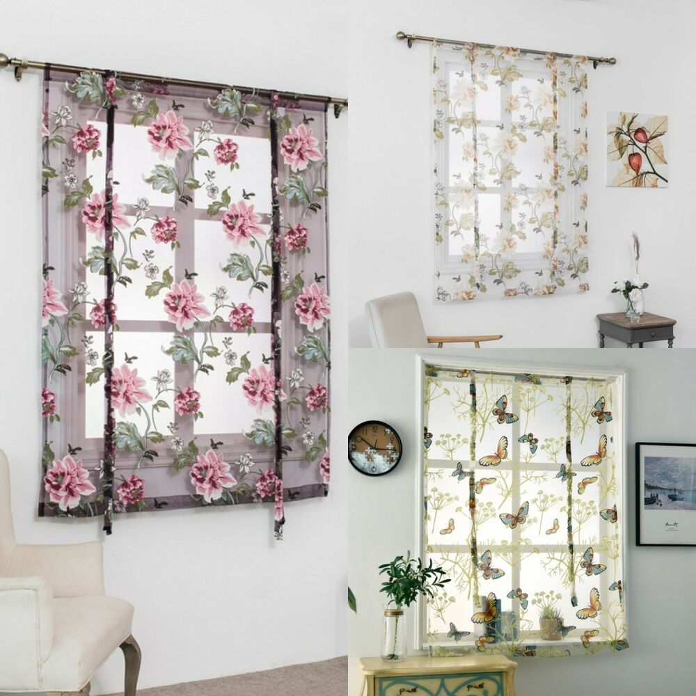 Kitchen Window Curtains: Rod Liftable Kitchen Bathroom Window Roman Curtain Floral
