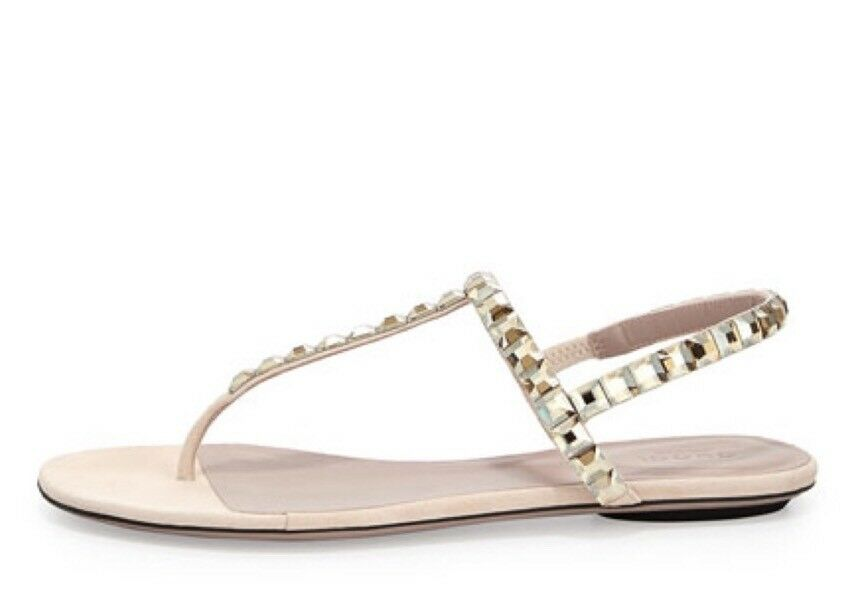 Details about  895 GUCCI Mallory CRYSTAL SUEDE THONG FLAT SANDALS SHOES  BEIGE 38.5 8.5 c5b81d17c