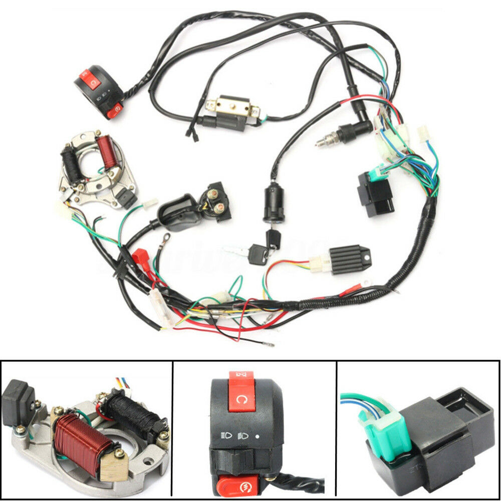 70/90/110/125 CC Mini ATV QUAD Complete Wiring Harness CDI STATOR Ignition  Set