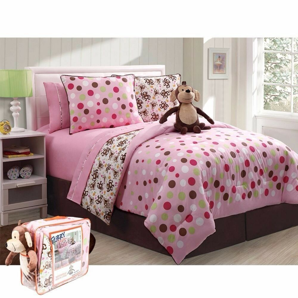 monkey full bed in a bag pink brown polka dot bedding 9pc comforter sheet set ebay. Black Bedroom Furniture Sets. Home Design Ideas