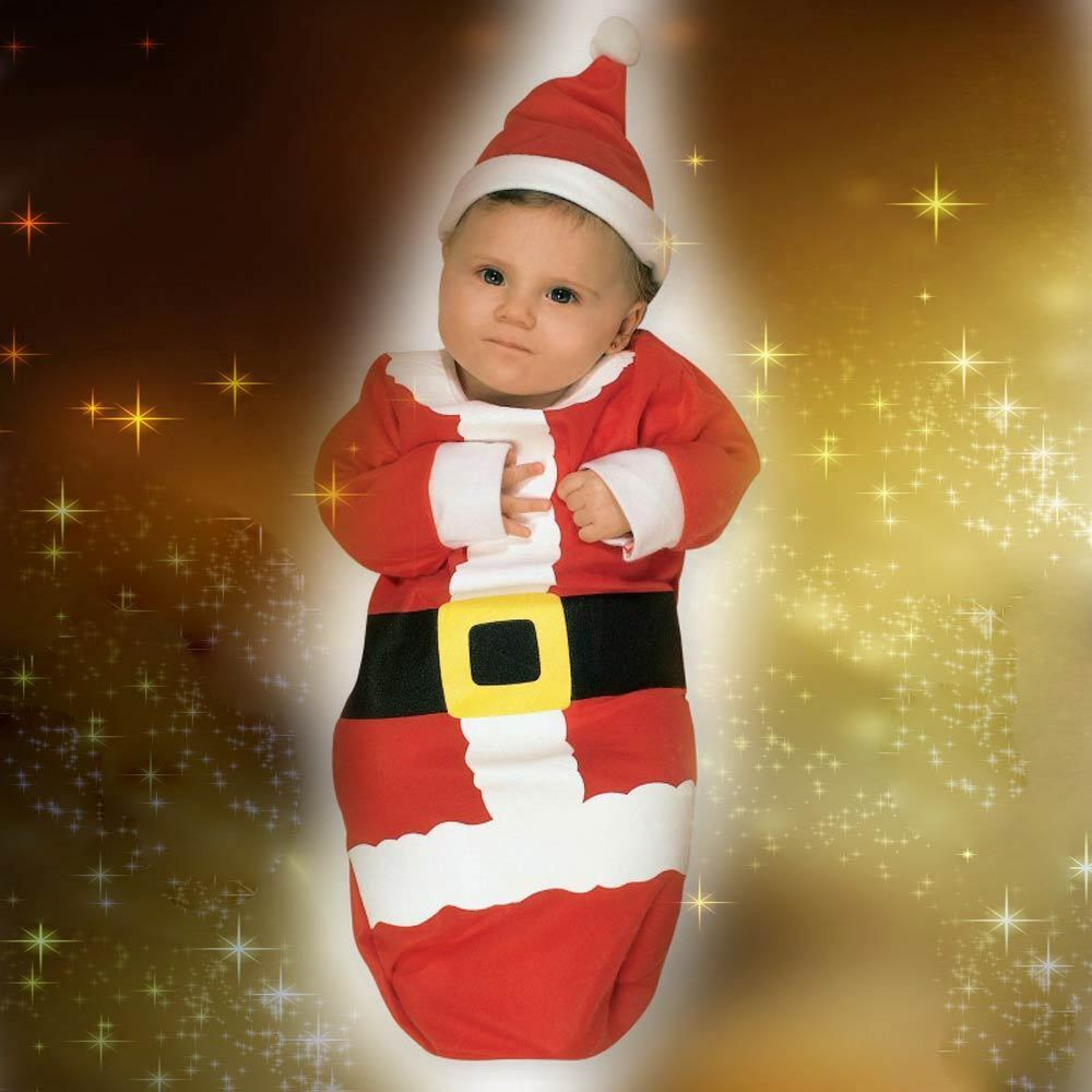 ed197940a5c8e Details about Baby Santa Claus Infant First Christmas Costume Romper Hat    Bunting SUIT 0-9M