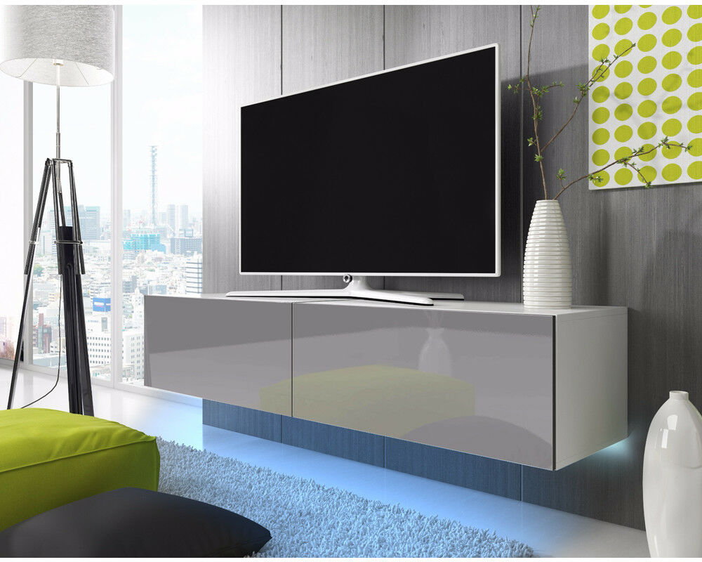 lana meuble tv suspendu led bleue rouge 100 cm 140 cm 160 cm 200 cm design salon ebay. Black Bedroom Furniture Sets. Home Design Ideas