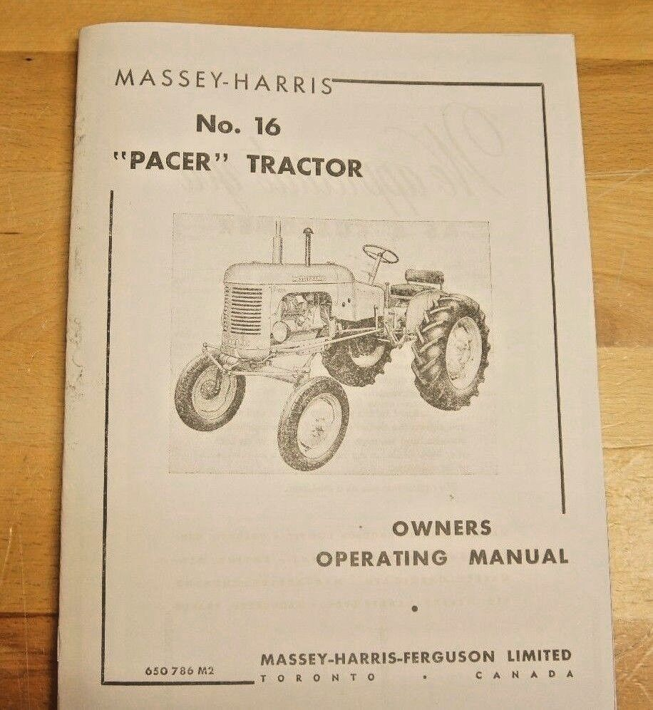 Massey Harris Pacer No 16 Tractor Owner's Operator's Manual MH Continental  | eBay