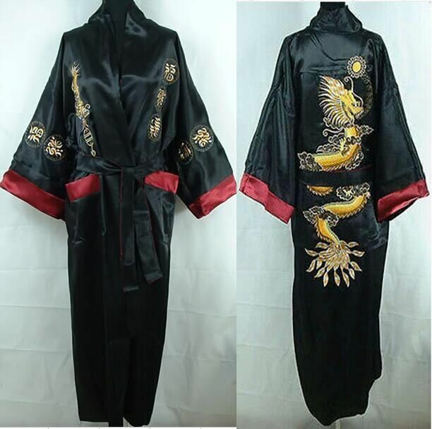 4bcd0a806c Details about BurgundyTwo-face Chinese Silk Satin men Women Robe Kimono  Embroidery Gown Dragon