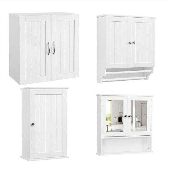 Bathroom Wall Mount Cabinet Organizer Kitchen Cupboard w/Door Storage Shelf Home