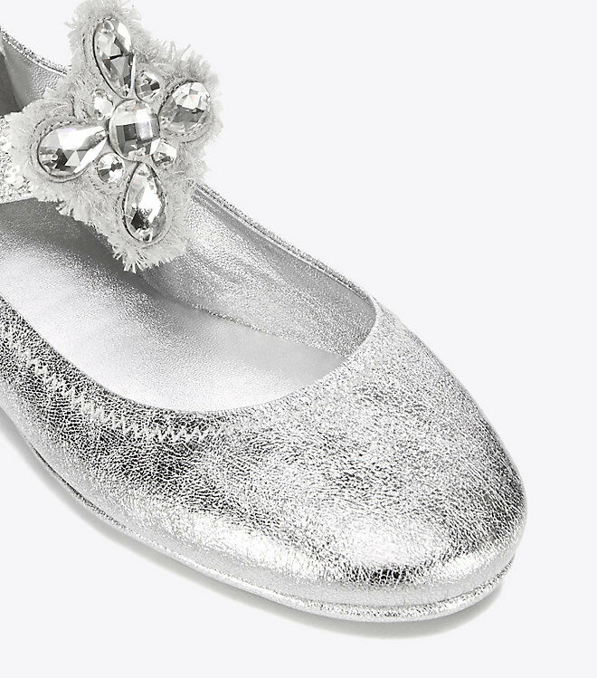 3d35ef1387becc NEW Tory Burch MINNIE Crystals EMBELLISHED TWO WAY FLATS Silver Clear Shoes  10