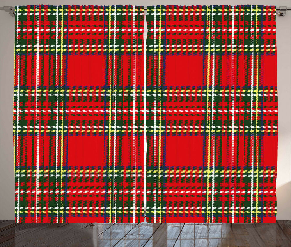 Red Plaid Curtains Western Tartan Quilt Window Drapes 2
