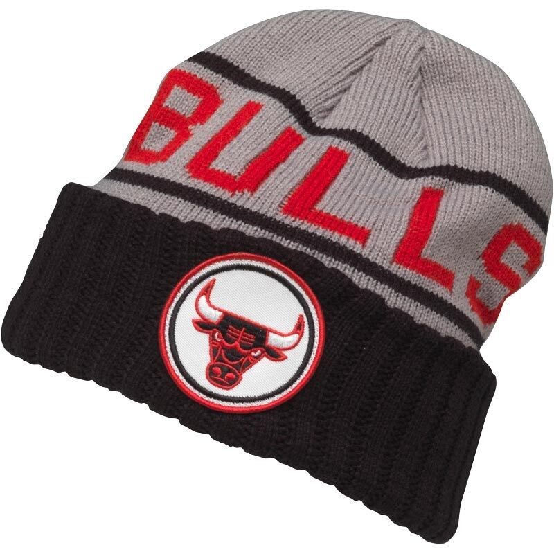 Details about Mitchell   Ness Mens Chicago Bulls 2 Tone Cuff Knit Grey  Beanie New 6c860909c5f