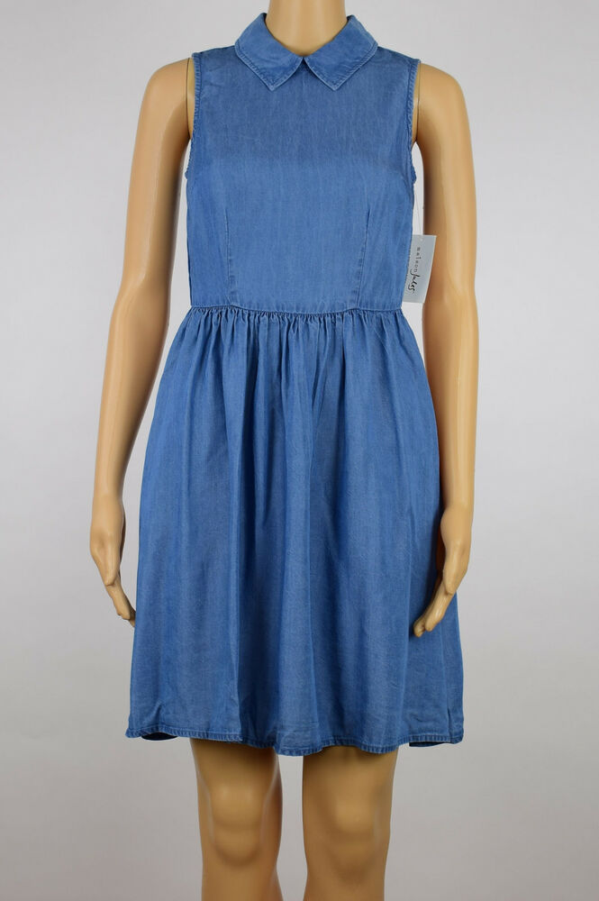 6a5c6551968fe Details about Maison Jules Womens Blue Chambray Slub Sleeveless Collar Fit    Flare Dress XS