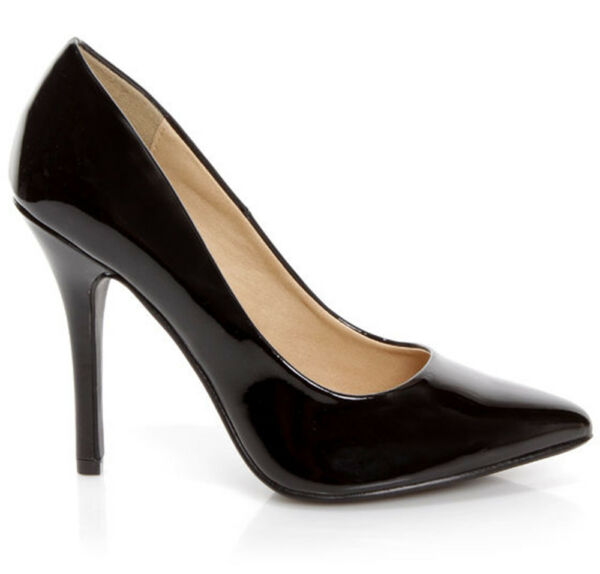 Delicious Women Slip On High Heel Pointy Toe Pump Formal Black Shiny Patent DATE