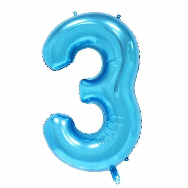 Details About 40 Giant Blue Three Year Old Baby First Birthday 3 Month Number Float Balloon