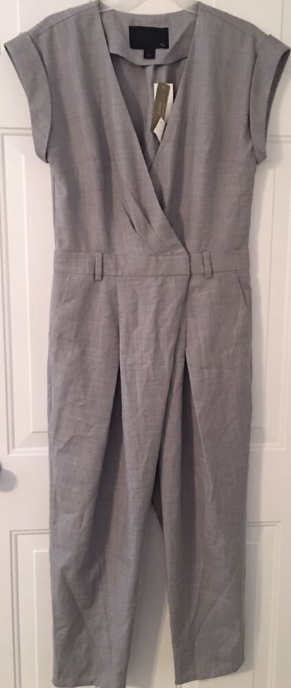 65449e0fd60 Details about NWT JCREW  228 Collection tropical wool jumpsuit Sz4 In Gray  C0935 SOLDOUT