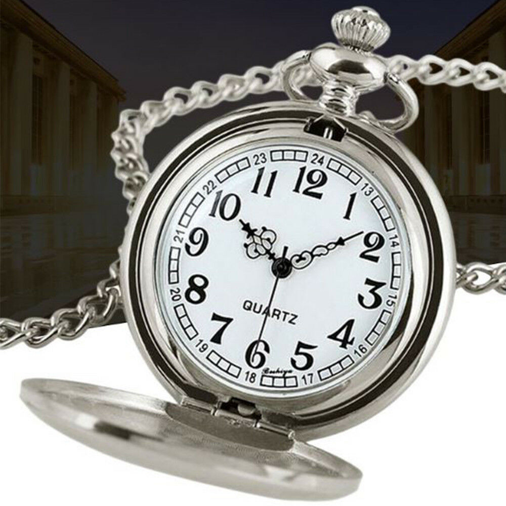 smooth silver white full hunter pocket watch pendant. Black Bedroom Furniture Sets. Home Design Ideas
