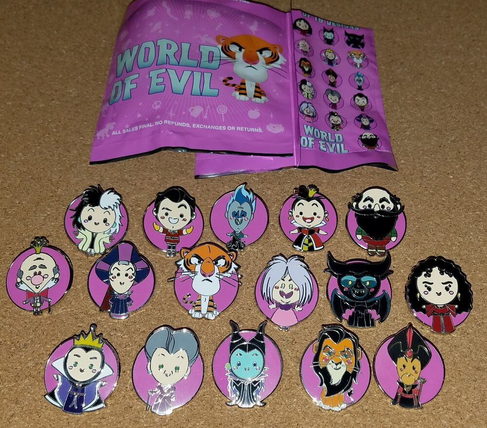 Disney Pins World Of Evil Mystery Complete Set 16 Pins