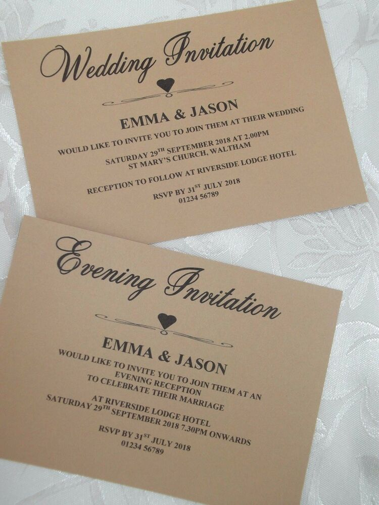 10 VINTAGE WEDDING / EVENING INVITATIONS & ENVELOPES PERSONALISED A6 ...