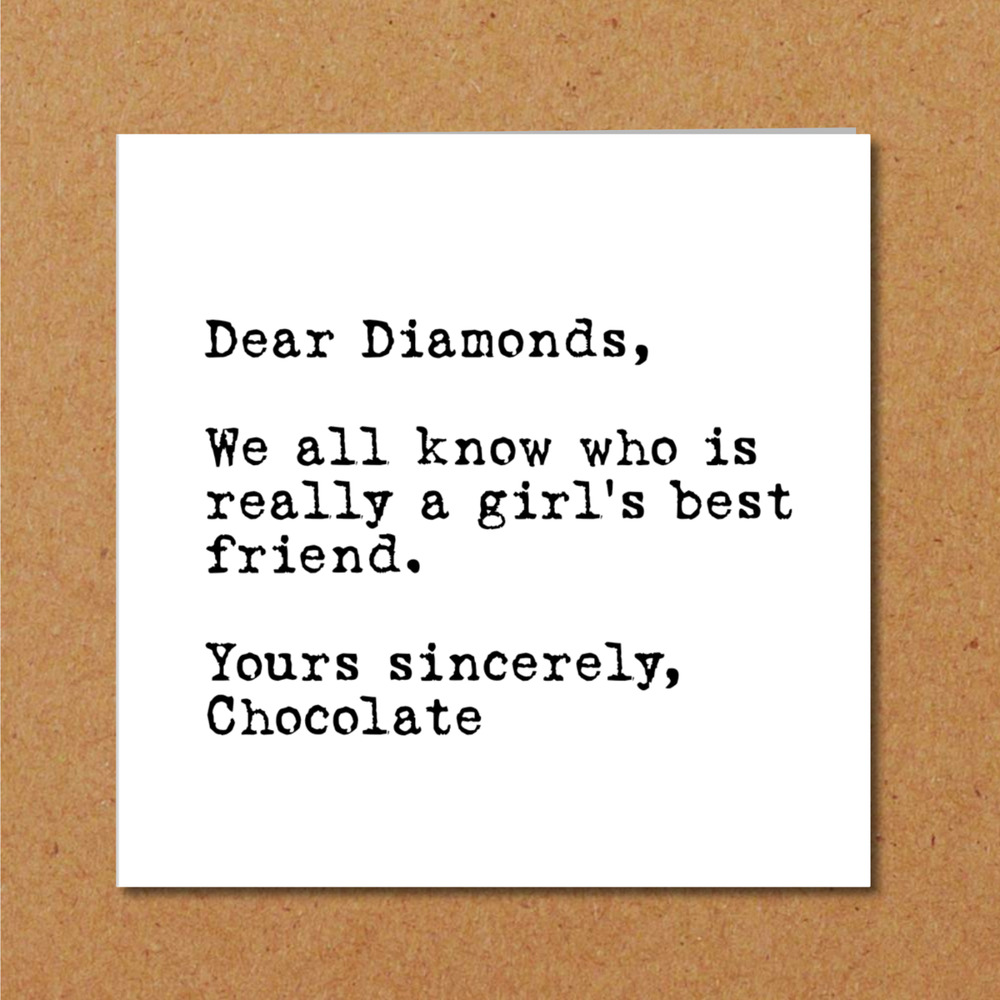 Details About Funny Birthday Card For Girlfriend Girl Friend Mum Daughter Chocolate Diamonds