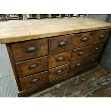 12 Drawer Antique American General Store Apothecary Cabinet