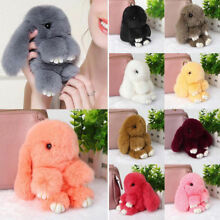 Adorable Fur Bunny Fluffy Rabbit Plush Toy Keyring Bag Charm Pendant Keychain QJ