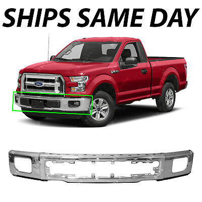 NEW Chrome Steel Bumper Face Bar for 2015 2016 2017 Ford F150 Truck W/ Fog 15-17