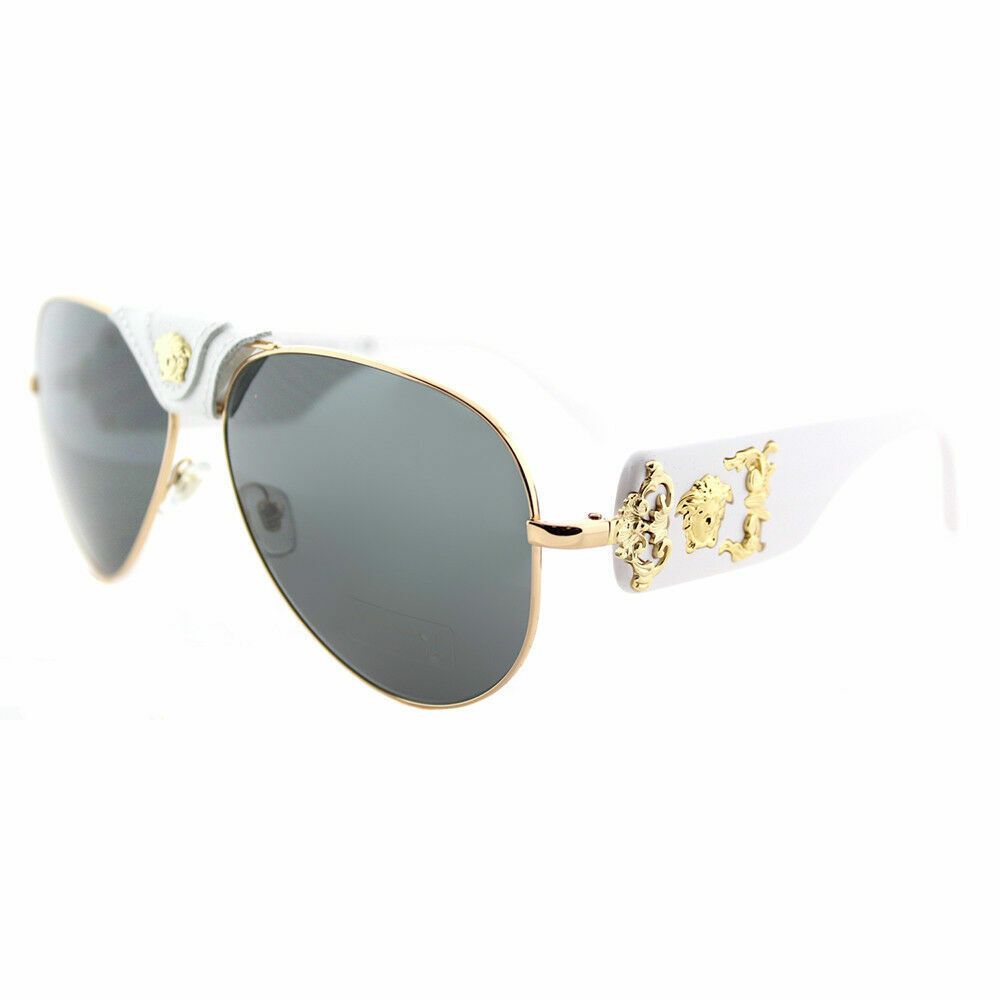 c724593470228 Details about Versace VE 2150Q 134187 Gold And White Metal Aviator  Sunglasses Grey Lens
