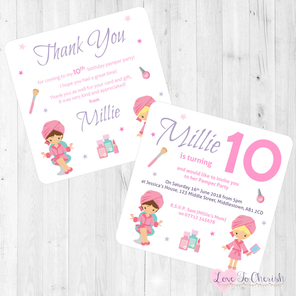 Details About Pamper Night Day Party Personalised INVITATIONS
