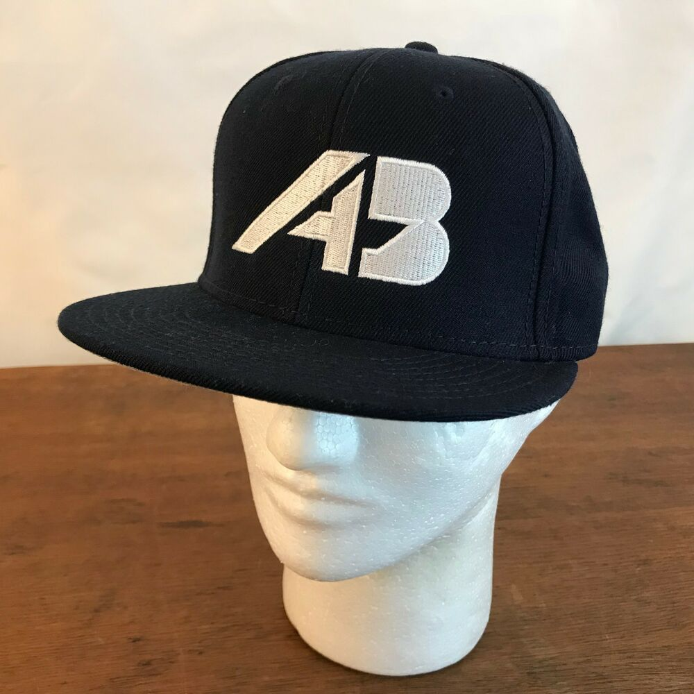 f0bf2537581 Details about AB Blue Acrylic   Wool Blend Flat Bill Snapback Cap Hat (Ch13)