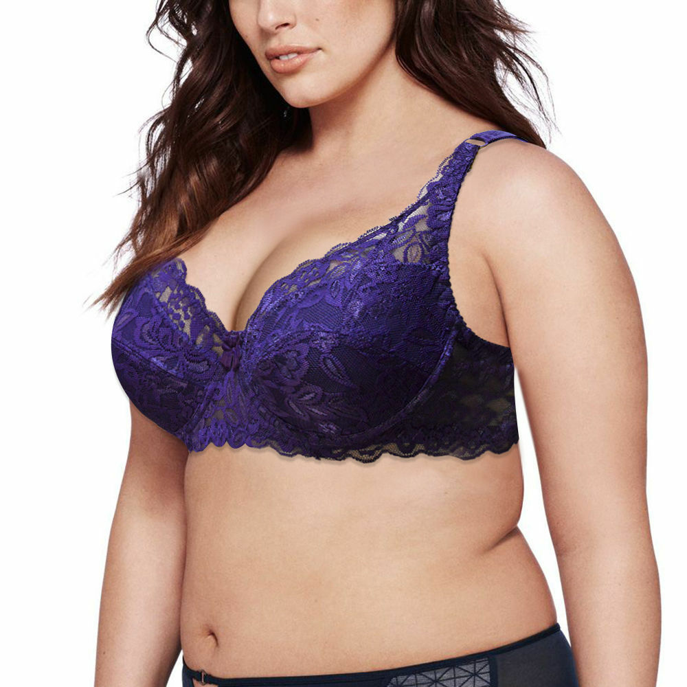 cce536f7ba77c Details about WOMEN SEXY PUSH UP LARGE SIZE BIG CUP BRA 32-44 ABCDEF DD  BLACK WHITE PURPLE