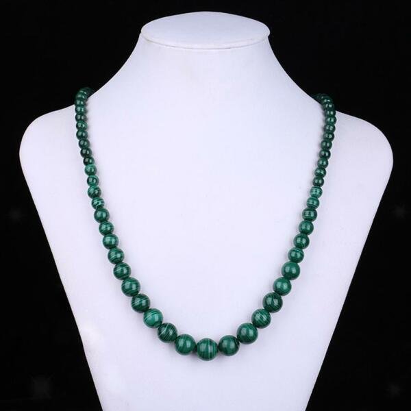 Femme Collier Perles Rondes Malachite Vert Multi-taille