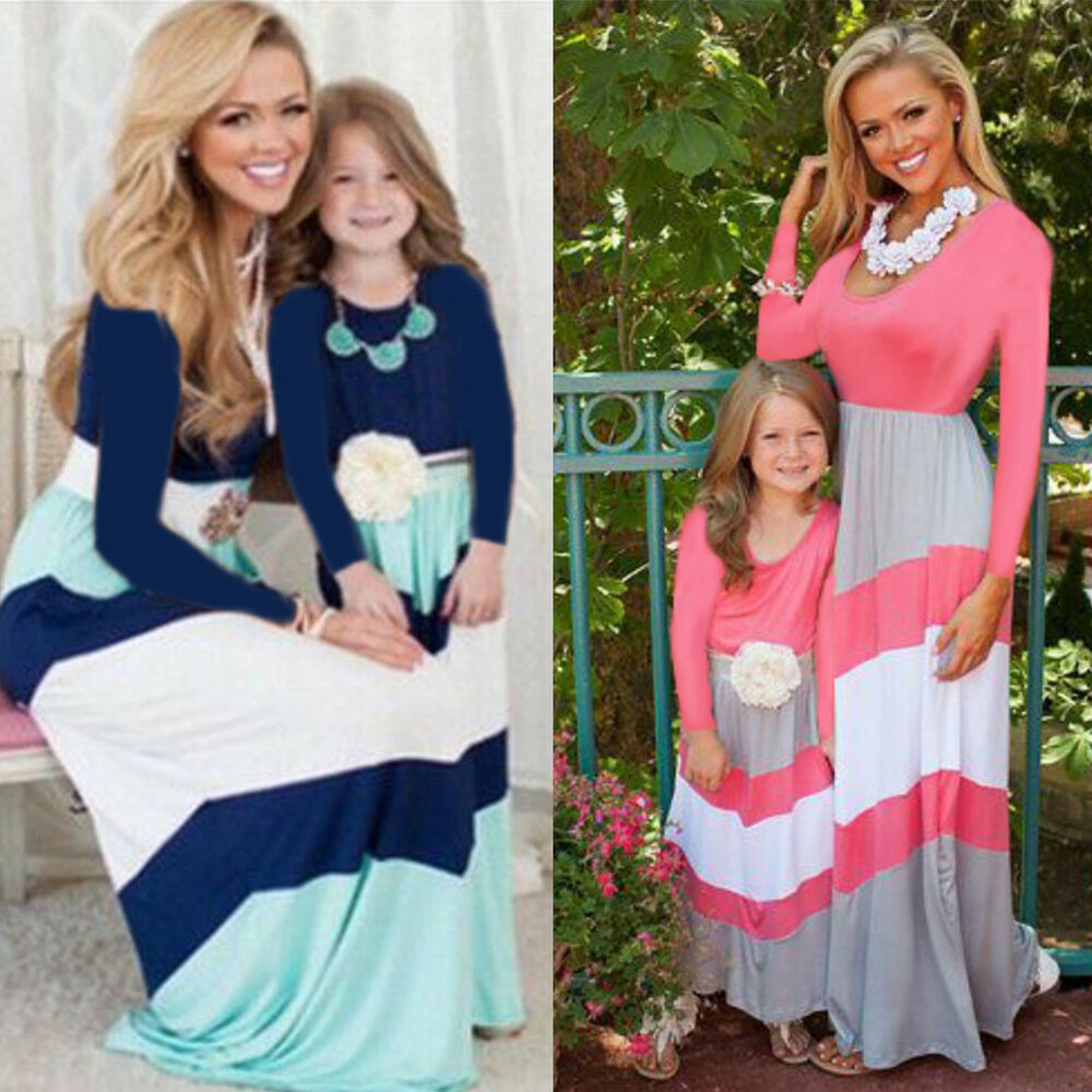 Details about Mother Daughter Matching Dresses Mommy And Me Holiday Casual  Maxi Long Dress 6ceb66ecff
