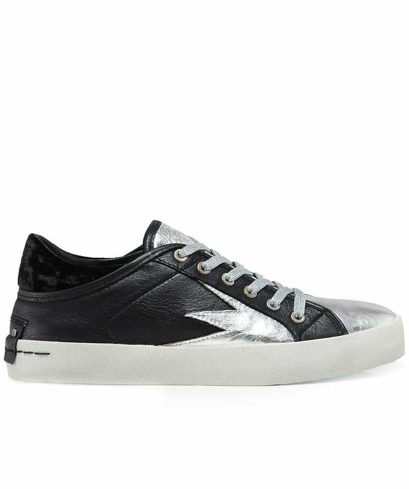Details about CRIME LONDON BLACK   METALLIC LEATHER SNEAKER TRAINERS £155  37 e9483cd8110