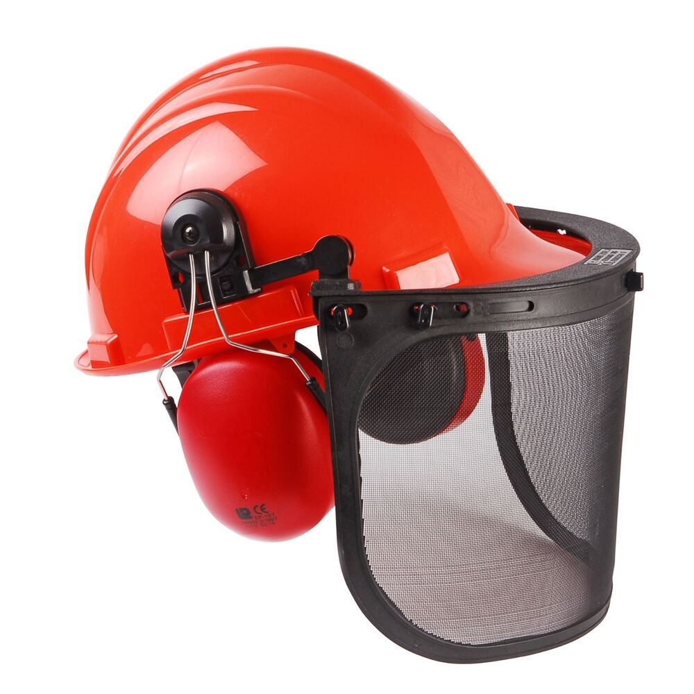 91146d82dab Details about CHAINSAW SAFETY HELMET WITH MESH VISOR
