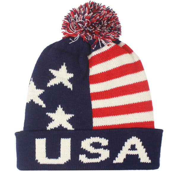 fab9bf6daffb43 Details about Team USA American Flag POM KNIT Beanie Hat Winter Olympics  STARS AND STRIPES LET
