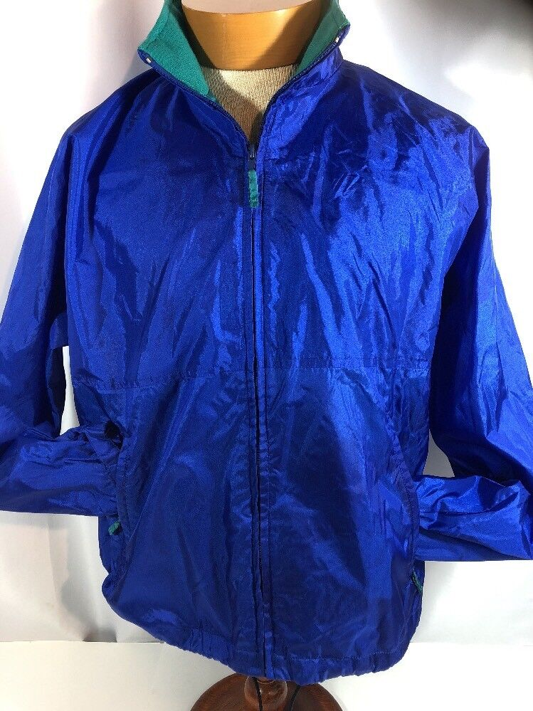 Ll Bean Mens Packable Light Nylon Zip Shiny Blue Jacket