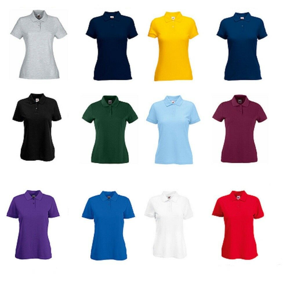6eb70ff77 Details about Fruit of the Loom Women's Plain Poly/Cotton Lady Fit Piqué Polo  Shirt Sports New