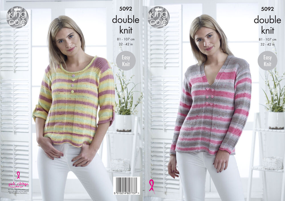 3199ffd3a056 Details about Easy Knit Round or V Neck Jumpers Womens Double Knitting  Pattern King Cole 5092