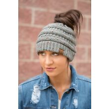 New Confetti Ponytail Beanie Softest Stretch Cable Messy Bun Knit Hat