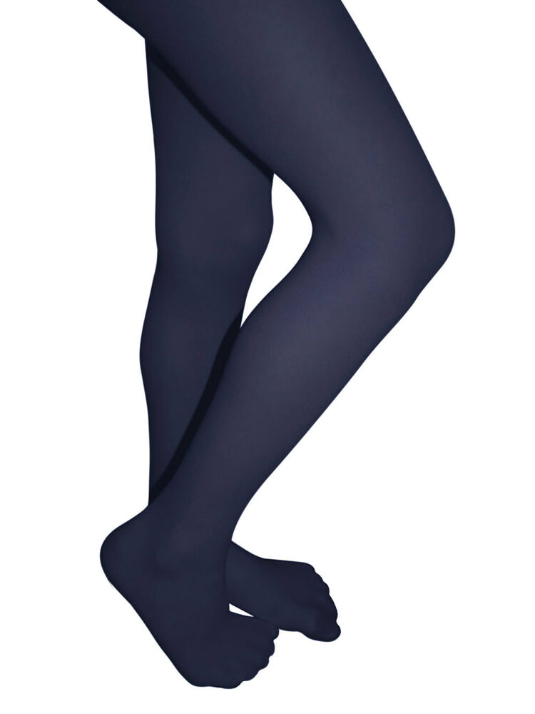 151383f35e3b3 Details about Clips N Grips Girls Colored Tights Microfiber Footed Stockings  Hosiery Navy Blue