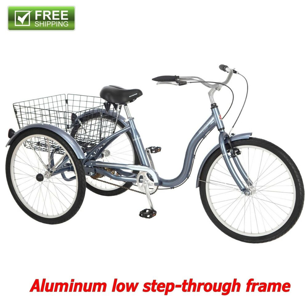 """f6c9ca341f0 Details about Schwinn Adult Tricycle 24"""" Blue Aluminum Low Step Frame Three  Wheeler Basket New"""