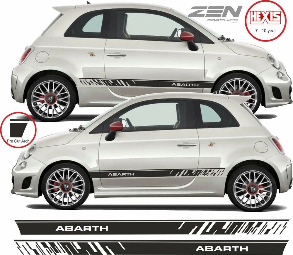 fiat 500 595 abarth side stripes graphics decals stickers vinyls any colours ebay. Black Bedroom Furniture Sets. Home Design Ideas