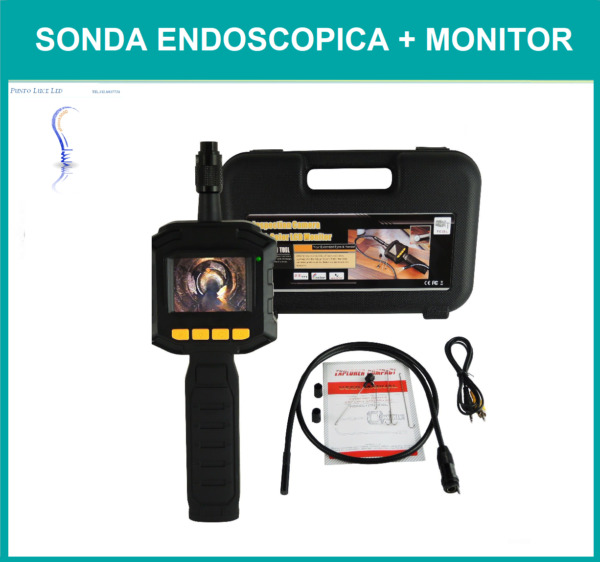 SONDA ENDOSCOPICA MONITOR CAVO FLESSIBILE 1 METRO IMPERMEABILE LUCE LED ENDOSCOP