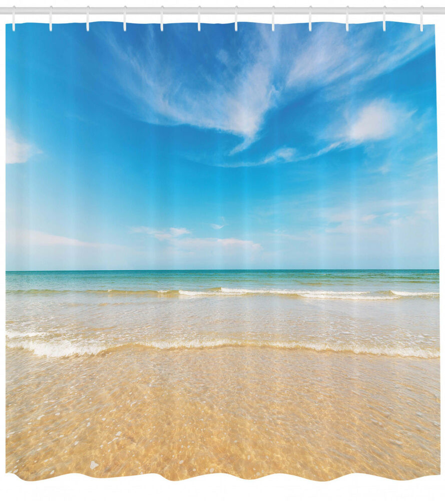 Details About Sea And Sky Landscape View Image Sandy Shore Beach Themed Shower Curtain Set